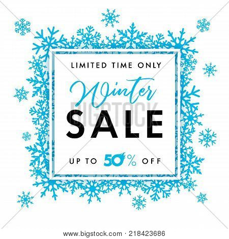 Elegant winter sale banner. Winter sale lettering design with blue snowflakes in frame  and text limited time only sale up to 50% on white background. Vector illustration