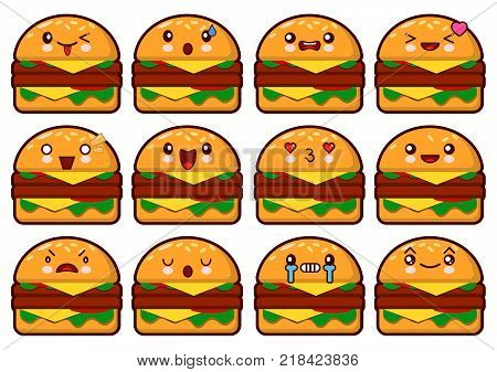Emoticon hamburger kawaii face on a white background. c Emoticon  illustration.Fast food burger.