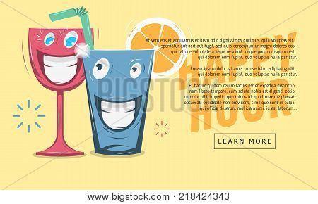 Happy Hour Web Banner Design. Funny Cartoon Smiling Glass Characters. Vector Graphic.