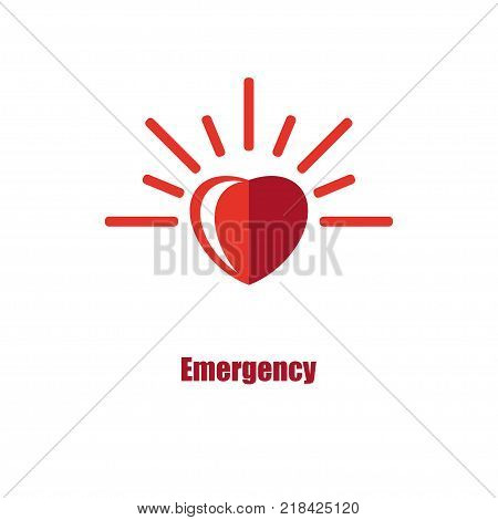 Emergency urgent care concept. Flasher of medical ambulance car in form of heart.