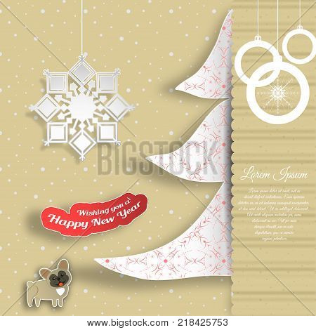 Vector cardboard art for Happy New Year with insert in the form of a white Christmas tree with pattern text snowflake dog cut from paper on the background with snowfall.