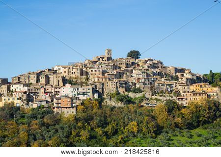 The village of Casperia in Sabina Rieti with some of its olive groves.