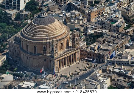 Areal view over the Rotunda of Mosta - the Parish Church of the Assumption Malta