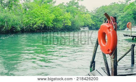 Life Buoys Floating On Waters Of Formoso River