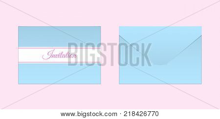 Decorative Blue Envelope. Vector Mock up of Envelop with Inscription Invitation Backside View and Frontside View