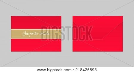 Decorative Red Envelope. Vector Mock up of Envelop with Inscription Surprise Inside Backside View and Frontside View