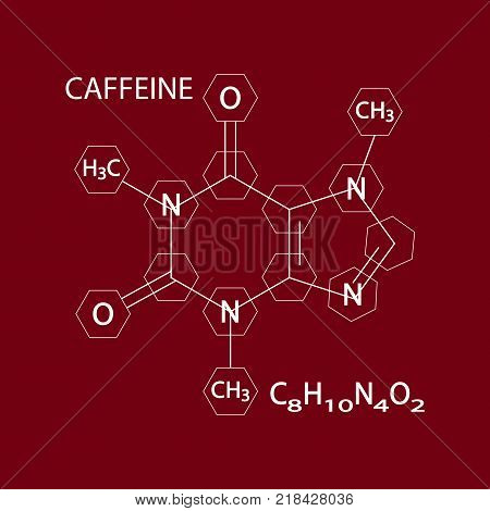 Caffeine Stimulant Molecule. Icon Symbol Design. Vector illustration isolated on brown background. Flat icon for apps and websites