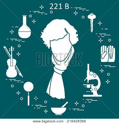 Private detective Sherlock Holmes with variety tools and equipment. The hero of the popular TV series. Design for announcement, print.