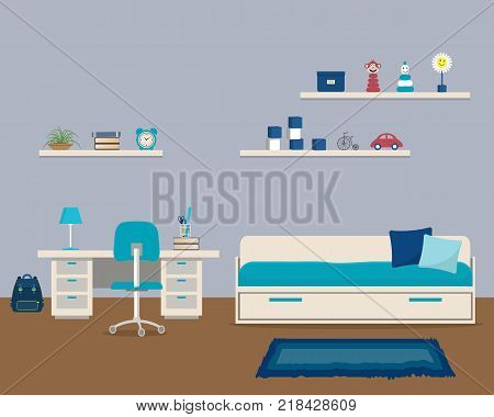 Kids' room in a blue color. There is a bed with pillows, a desk, a chair, shelves with toys and other objects in the picture. Vector illustration