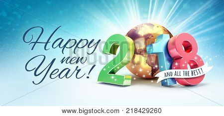 Greetings and colorful New Year date 2018 composed with a gold planet earth on a shiny blue background - 3D illustration