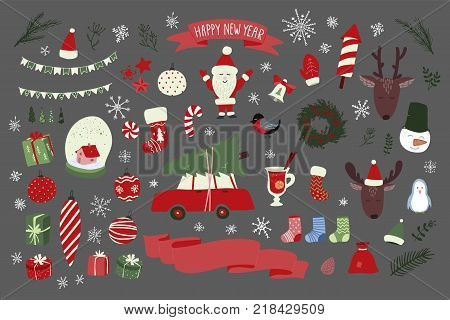 Christmas hand drawn elements set. New Year holiday signs. Stock vector