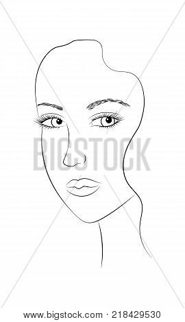 Black and white portrait of a young beautiful woman close-up. The face of a young girl. The face is half a turn. A girl with big eyes, puffy lips. Template for colouring. Vector EPS 10