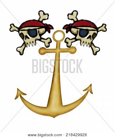 A digital painting of the traditional skull and crossbones with an anchor symbolizing Pirates.