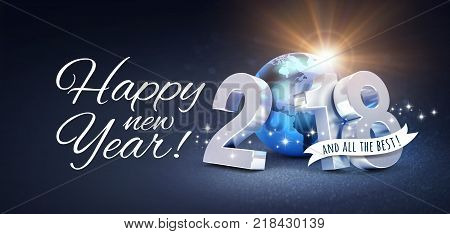 New Year date 2018 composed with a blue planet earth and Greetings on a festive black background - 3D illustration