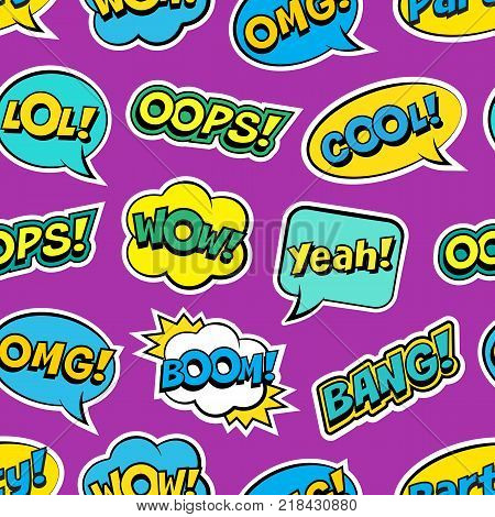 Seamless colorful pattern with comic speech bubbles patches on violet background. Expressions OOPS, COOL, YEAH, BOOM, WOW, OMG, BANG. Vector illustration of modern vintage stickers, pop art style