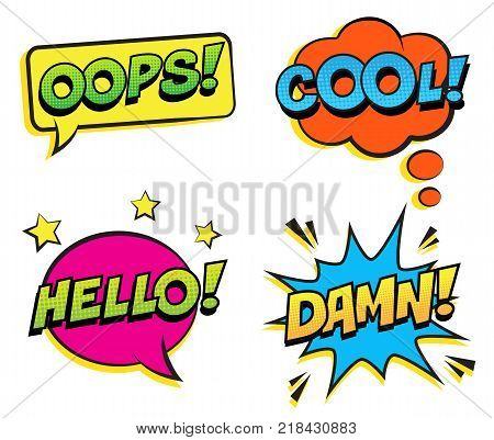 Retro colorful comic speech bubbles set with halftone shadows on white background. Expression text COOL, OOPS, HELLO, DAMN. Vector illustration, pop art style.