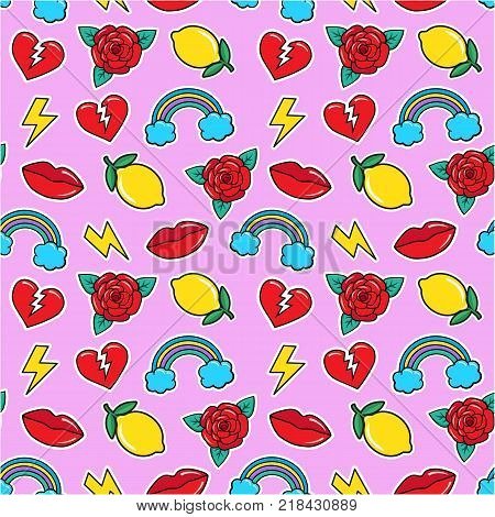 Seamless colorful pattern in fashion rockabilly tattoo style. Patches set, broken heart, rose, lemon, lips, rainbow etc on pink background. Vector illustration of modern vintage stickers