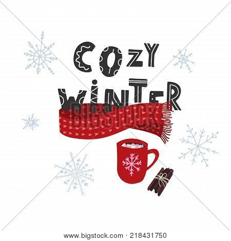 Cozy winter with hot cocoa and cinnamon sticks. Stock vector