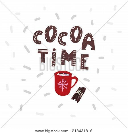 Cocoa time with scarf and cinnamon sticks. Stock vector