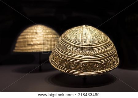 Madrid Spain - November 10th 2017: Axtroki Golden bowls dated at Late Bronze Age. National Archaeological Museum Madrid