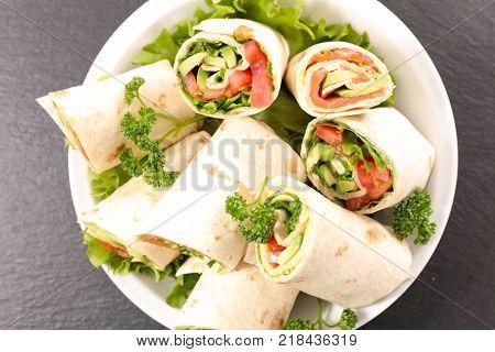 burrito, wrap, sandwich