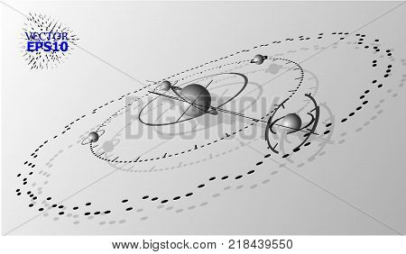 EPS10. 3d engineering technology vector backdrop. Futuristic technical plan, mechanism. Monochrome mechanical scheme, dimensional abstract industrial design can be used as website background.