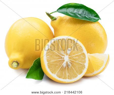 Lemon fruits, lemon slices with leaves on the white background.