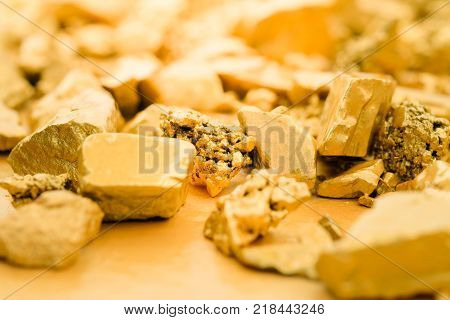 Close Up Lump Of Gold Mine Background Texture