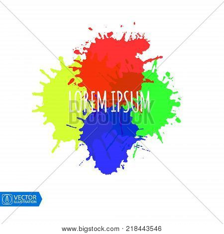 Abstract watercolor Colorful Paint Splats. Vector illustration