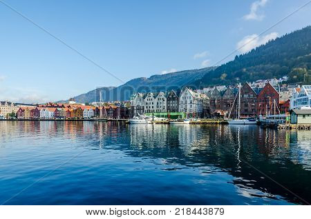 Bergen, Norway. Harbor and old houses in sunny day.