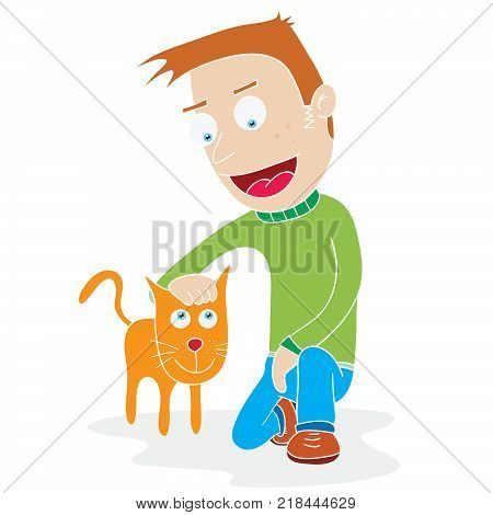 Illustration of man and his tame cat