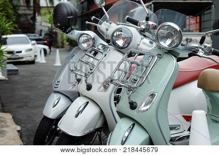 Bangkok, Thailand - September 5, 2017:  Three New Vespa Motorcycles Parked In The Parking Lot