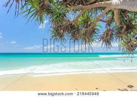 Byron Bay beach on a clear day with blue water in New South Wales, Australia