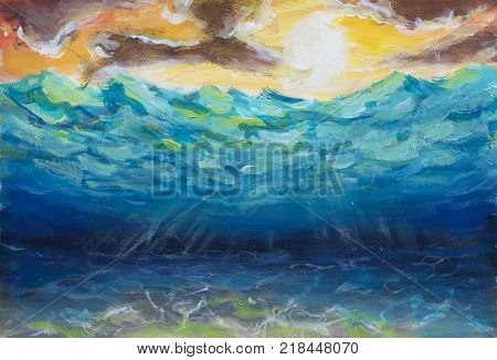 original Beautiful blue turquoise underwater world, sea waves yellow orange sky white sun bright nature reflection of sun rays on sea bottom oil painting illustration postcard. Abstract artwork. Colorful Art.
