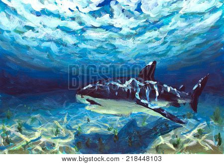 original A beautiful blue turquoise underwater world a reflection of the sun's rays on the seabed. Big fish shark fear danger oil painting illustration postcard. Abstract artwork. Colorful Art.