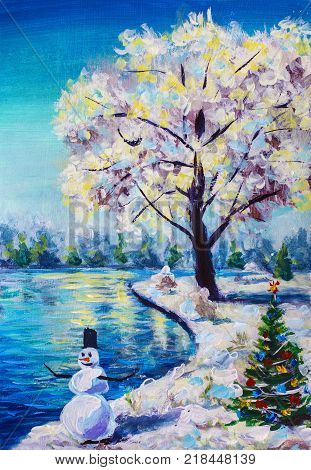 original painting Christmas card fairy winter landscape Christmas tree with toys cheerful snowman beautiful snowy sakura tree against the blue pond background illustration postcard Art.