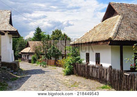 Petofi Sandor Street in Holloko a UNESCO World Heritage village of Hungary