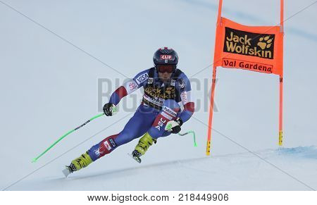 VAL GARDENA, ITALY - DECEMBER 14: Steven Nyman of The USA races down the Saslong course during the Audi FIS Alpine Ski World Cup Men's Downhill training on December 14 2017