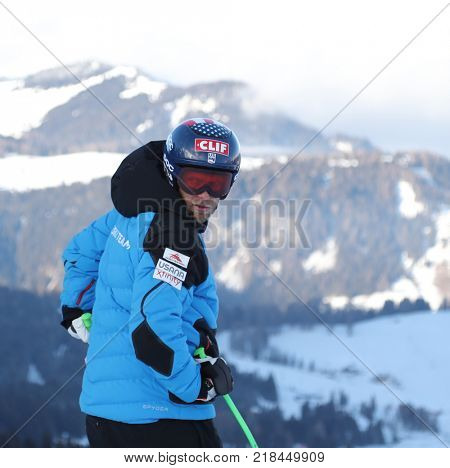 VAL GARDENA, ITALY - DECEMBER 14: Steven Nyman of The USA during pre race course inspection for the Saslong course during the Audi FIS Alpine Ski World Cup Men's Downhill training on December 14 2017