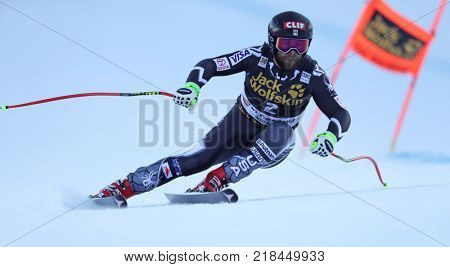 VAL GARDENA, ITALY - DECEMBER 14: Travis Ganong of The USA races down the Saslong course during the Audi FIS Alpine Ski World Cup Men's Downhill training on December 14 2017