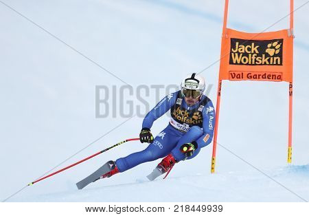 VAL GARDENA, ITALY - DECEMBER 14: Peter Fill of Italy races down the Saslong course during the Audi FIS Alpine Ski World Cup Men's Downhill training on December 14 2017