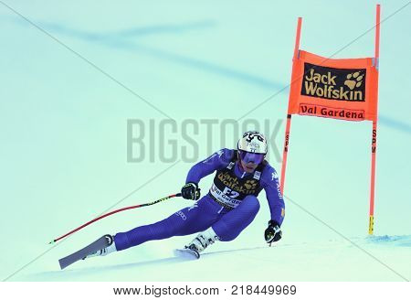 VAL GARDENA, ITALY - DECEMBER 14: Alexander Prast races down the Saslong course during the Audi FIS Alpine Ski World Cup Men's Downhill training on December 14 2017