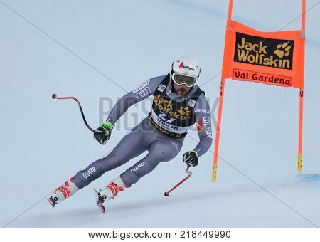 VAL GARDENA, ITALY - DECEMBER 14: Brice Roger of France races down the Saslong course during the Audi FIS Alpine Ski World Cup Men's Downhill training on December 14 2017
