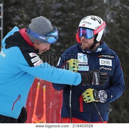 VAL GARDENA, ITALY - DECEMBER 14:  Coach Scotty Venis from Team USA and Kjetil Jansrud of Norway during pre race course inspection for the Saslong course during the Audi FIS Alpine Ski World Cup Men's