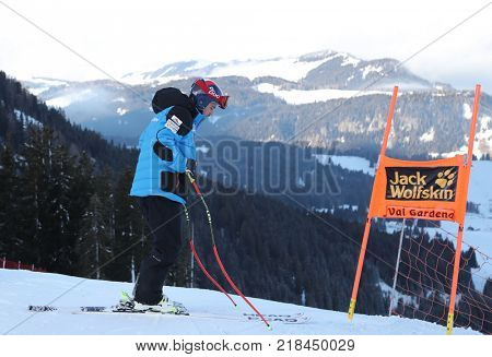 VAL GARDENA, ITALY - DECEMBER 14: Jared Goldberg of The USA during pre race course inspection for the Saslong course during the Audi FIS Alpine Ski World Cup Men's Downhill training