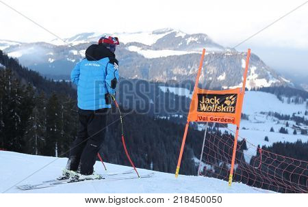 VAL GARDENA, ITALY - DECEMBER 14: Jared Goldberg of The USA during pre race course inspection for the Saslong course during the Audi FIS Alpine Ski World Cup Men's Downhill training on