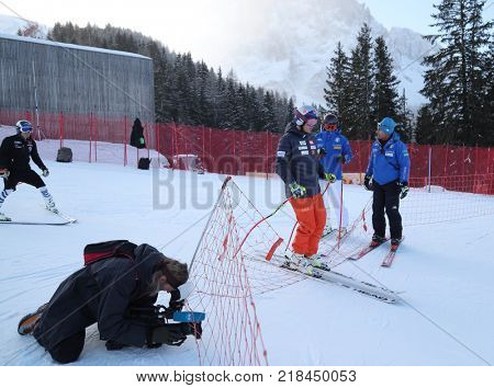 VAL GARDENA, ITALY - DECEMBER 14:  Erik Guay of Canada during pre race course inspection for the Saslong course during the Audi FIS Alpine Ski World Cup Men's Downhill training on December 14 2017
