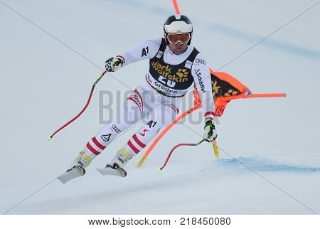 VAL GARDENA, ITALY - DECEMBER 14: Romed Baumann of Austria races down the Saslong course during the Audi FIS Alpine Ski World Cup Men's Downhill training on December 14 2017