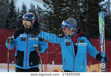 VAL GARDENA, ITALY - DECEMBER 14:  Coach Scotty Venis from Team USA with Jared Goldberg of The USA during pre race course inspection for the Saslong course during the Audi FIS Alpine Ski World Cup
