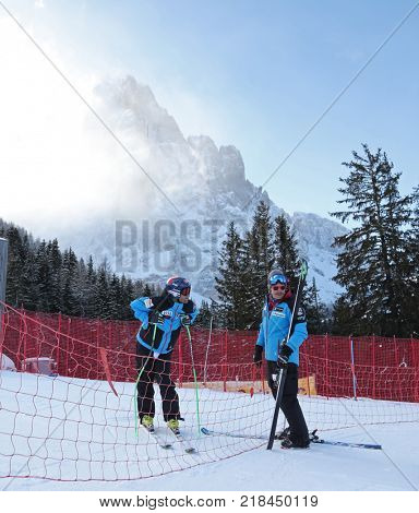 VAL GARDENA, ITALY - DECEMBER 14:  Coach Scotty Venis from Team USA with Steven Nyman of The USA during pre race course inspection for the Saslong course during the Audi FIS Alpine Ski World Cup